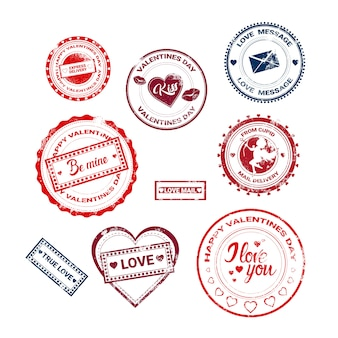 Valentine day gift card holiday love sticker stempel collectie