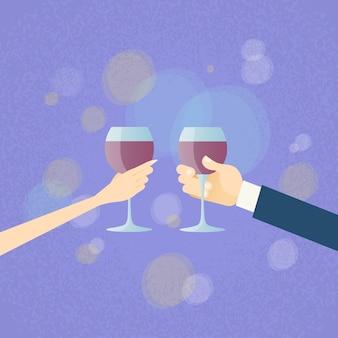 Valentine day greeting toast twee handen houden glazen wijn