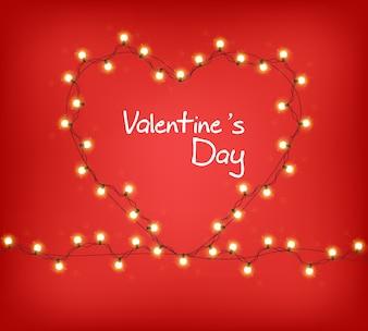 Valentine Day-hart met gloeiende lichten
