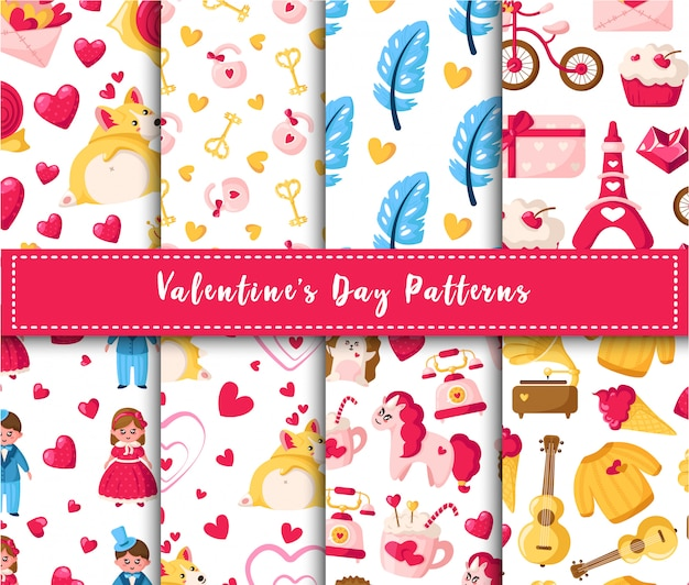 Valentine day naadloze patroon set - cartoon kawaii meisje en jongen, corgi puppy, eenhoorn, veren, harten