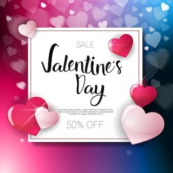Valentine day sale flyer template met exemplaar ruimtevakantie discouns concept