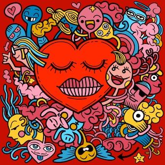 Valentine doodle hand tekenen liefde, romantische elementen collectie.