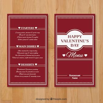 Valentine elegante menumalplaatje