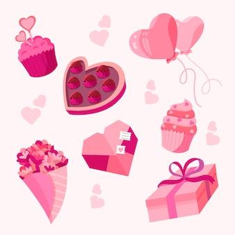 Valentine-elementen in plat ontwerp
