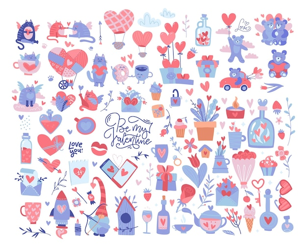 Valentine-elementen instellen. veel verschillende romantische voorwerpen. saint valentine's day grote collectie