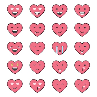 Valentine emoticon vector-collectie