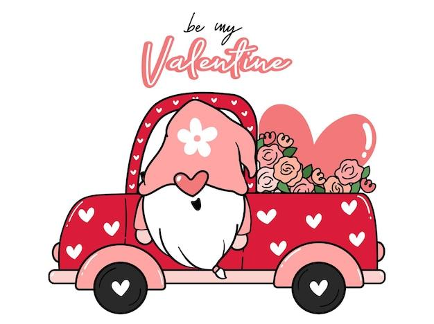 Valentine gnome in bloem en hart rode vrachtwagenauto, wees mijn valentijn, schattig cartoon plat idee voor valentijn