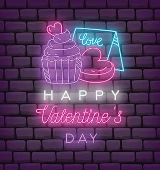 Valentine-groet in neoneffect stijl vectorillustratie