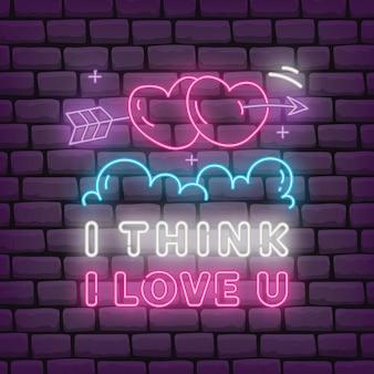 Valentine-groet in neoneffect stijlillustratie