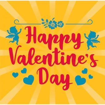 Valentine-groetkaart met kleurrijke typografie