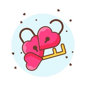 Valentine hangslot en sleutel pictogram illustraties. valentine pictogram concept wit geïsoleerd.