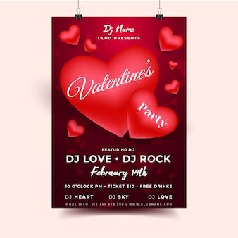 Valentine hearts-uitnodigingsvlieger