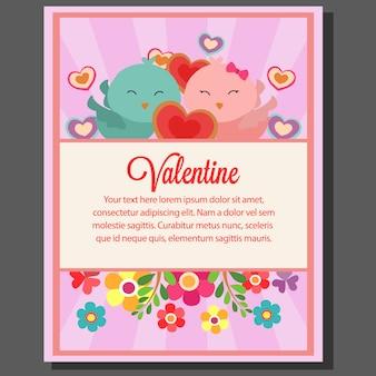 Valentine-het paarvogel van de themaposter