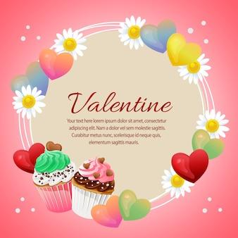 Valentine-kaart met liefde en kleurrijke cupcakes