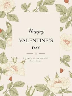 Valentine-kaart. roze bloemtekeningen. prachtige lijntekeningen. botanische illustraties.