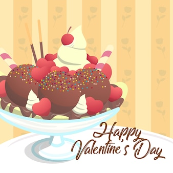 Valentine-kaartsjabloon zoete ijscoupe hartchoco