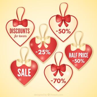 Valentine kortingsmarkeringen pak