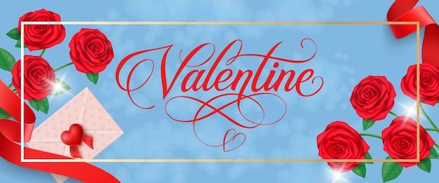 Valentine lettering in frame met rozen