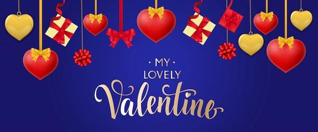 Valentine lettering met hangende harten