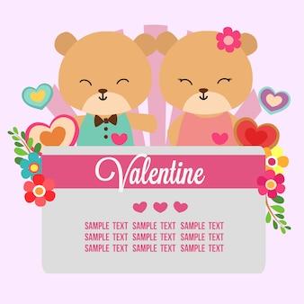 Valentine-liefdethema met pandapaar