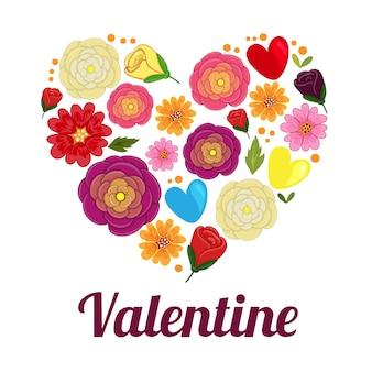 Valentine-liefdevorm met de bloem van de beeldverhaalboterbloem