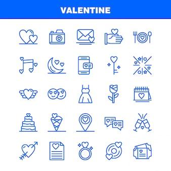 Valentine lijn icons set