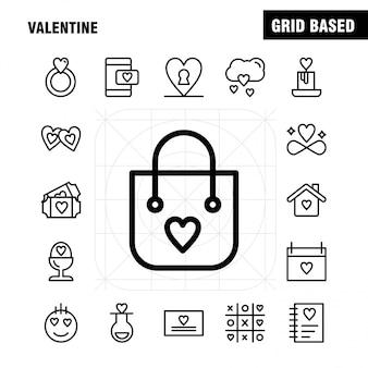 Valentine line icon pack: fles, liefde, romantisch, valentijn, liefde, gift, hart, valentijn
