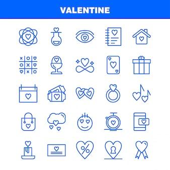 Valentine line icon pack. pictogrammen van kolf, liefde, romantisch, valentine, liefde, cadeau, hart, valentine