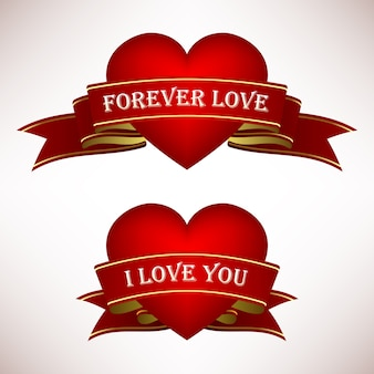 Valentine love heart met linten