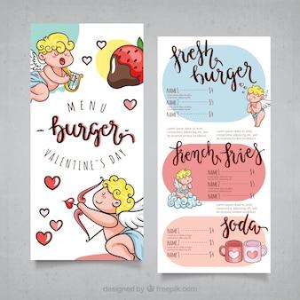 Valentine-menuontwerp met engelen