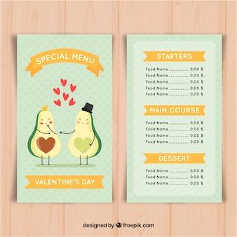 Valentine menusjabloon met avocado