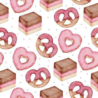 Valentine naadloze patroon aquarel