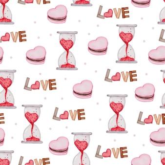Valentine naadloze patroon met glazen horloge, cake.
