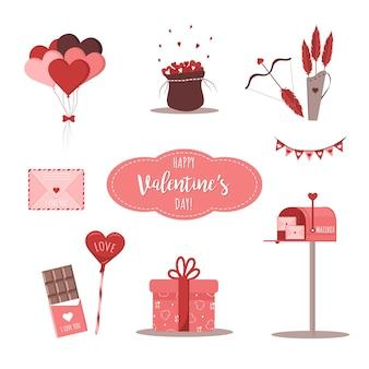 Valentine-ontwerpelementen met post en cupido-pijlen