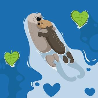 Valentine otters paar verliefd