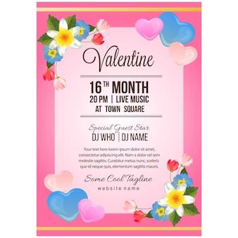 Valentine partij poster sjabloon met sierlijke bloem