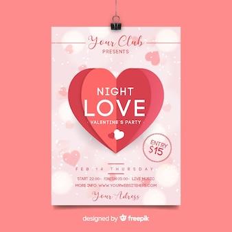 Valentine-partijaffiche gevouwen hart