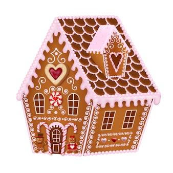 Valentine-peperkoekhuis met suikergoed en peperkoekkoekjes