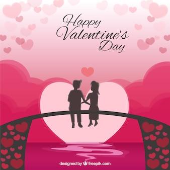 Valentine's achtergrond van kinderen zittend op een brug
