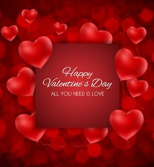 Valentine's day hart liefde en gevoelens wenskaart