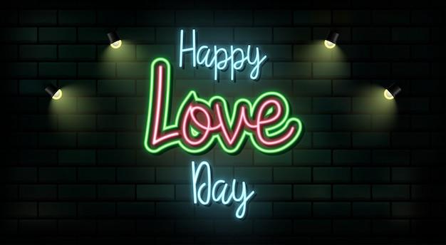 Valentine's day neon teken. vector achtergrond.