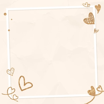 Valentine's glittery hart frame beige verfrommeld achtergrond
