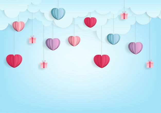 Valentine's harten ballon papier gesneden stijl abstract op blauw
