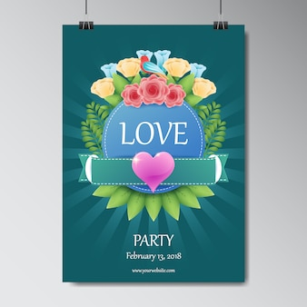 Valentine's party poster te ontwerpen