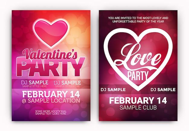 Valentine's party posters ingesteld