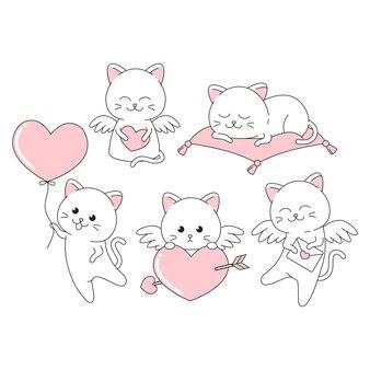 Valentine schattige kat met veel pose