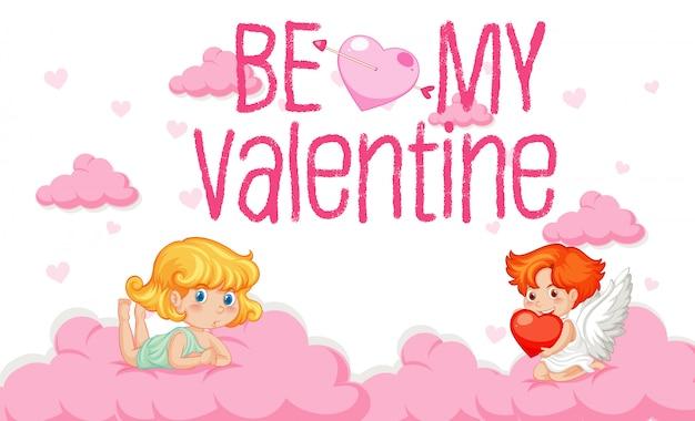 Valentine-thema met cupido die in de hemel vliegen