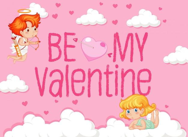 Valentine-thema met twee cupido's in de wolken