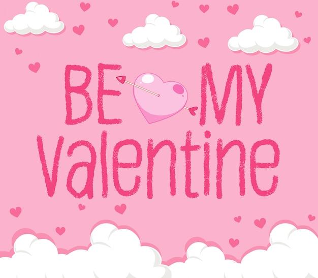 Valentine-thema met wolken op roze hemel