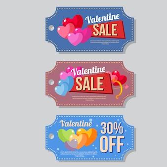 Valentine verkoop coupon sjabloon instellen hart liefde vorm